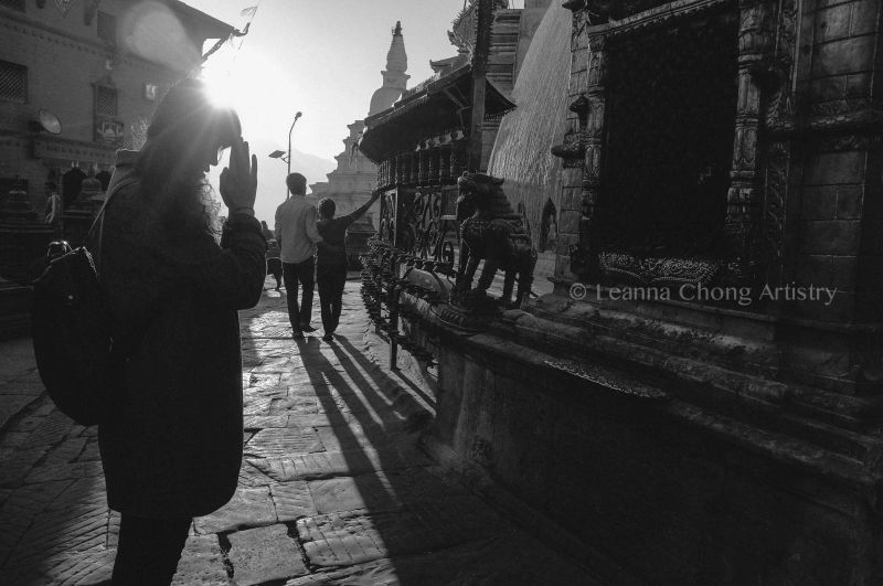 Woman Praying at Monkey Temple, Kathmandu